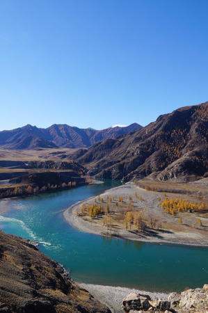 Confluence of Chuya and Katun rivers in Altai, Russia. Stock Photo