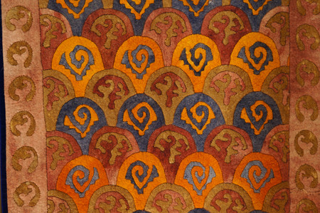 Colorful carpet for sale, Altai Republic,Russia.The design of carpet is inspired by the horn of ibex
