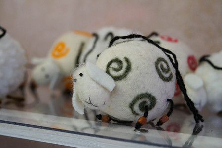 Cute handmade sheep toy for decoration,Altai Republic,Russia. Stock Photo