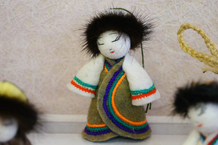Doll in Russian folk costume for sale in Altai Republic,Russia. Stock Photo