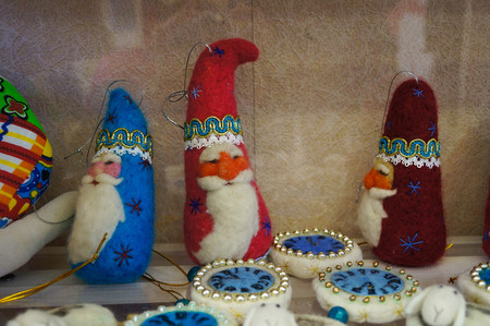 Santa Claus toy dolls made form wool in store for sale,Altai Republic,Russia.