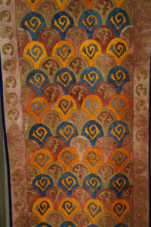 Colorful carpet for sale, Altai Republic,Russia.The design of carpet is inspired by the horn of ibex.