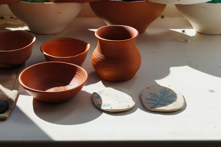 Beautiful bowls and vase in sunlight for drying, Altai Republic,Russia.