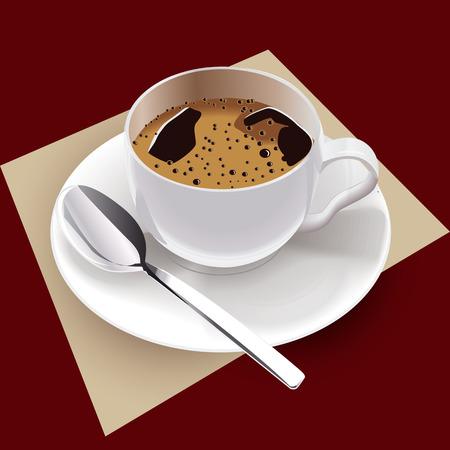 銀のスプーンを現実的なベクトルのコーヒー カップ