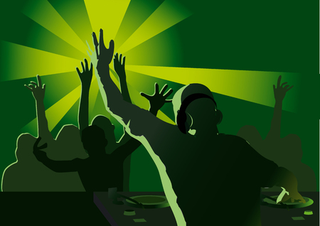dj party in front of crowd Vector