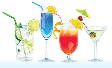 cocktails Mojito , Blue lagoon, Tequila Sunrise, Martini Illustration