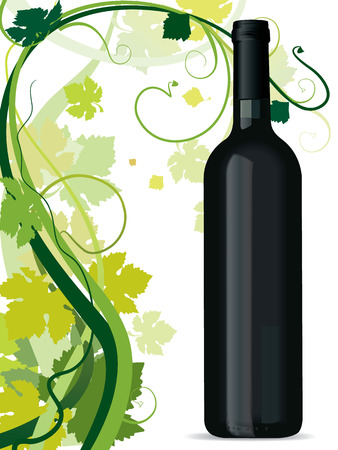 white riesling grape: swirling vine leafs and wine bottle