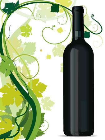Zwenken wijnrankbladeren bladeren en wijnfles Stockfoto - 4089531