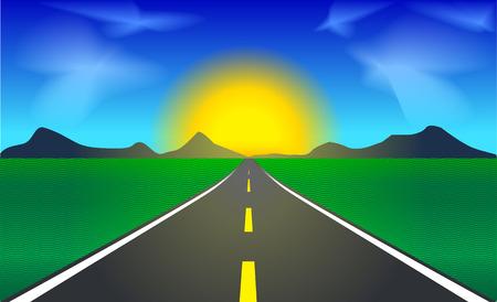 vector illustratie van de auto snelweg richting de zons opgang