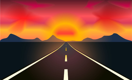 heading: Vector illustration of highway heading to the sunset