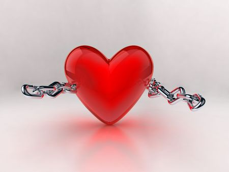 bondage: Tearing the heart of that chain. Represents freedom from bondage