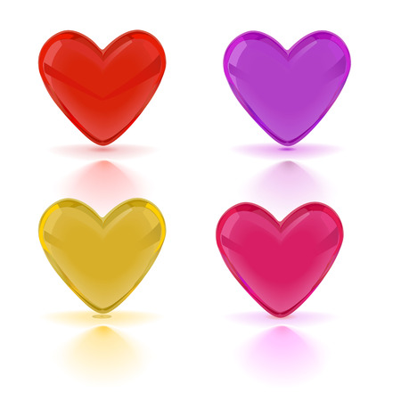 set of colored hearts vector illustration Vector
