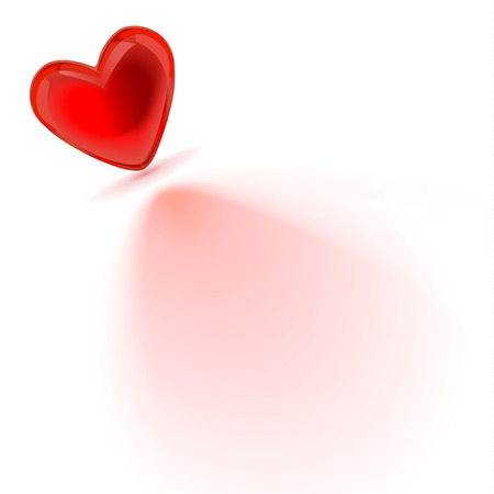 heart that cast a shadow on white background Vector