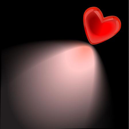 hart dat een schaduw werpen op zwarte achtergrond