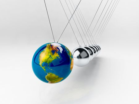 organized: balancing balls Newtons cradle (earth in motion)