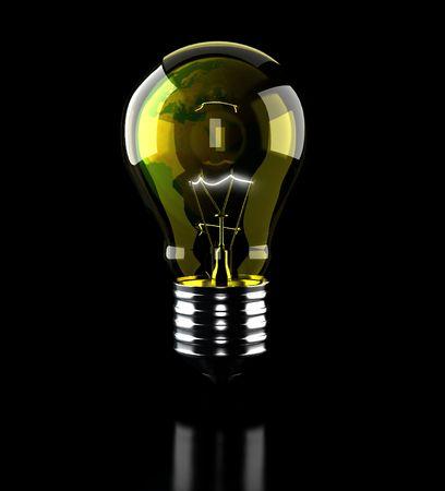 lightbulb on black background