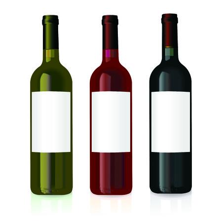 merken: vector illustratie van drie wijn flessen met lege labels  Stock Illustratie