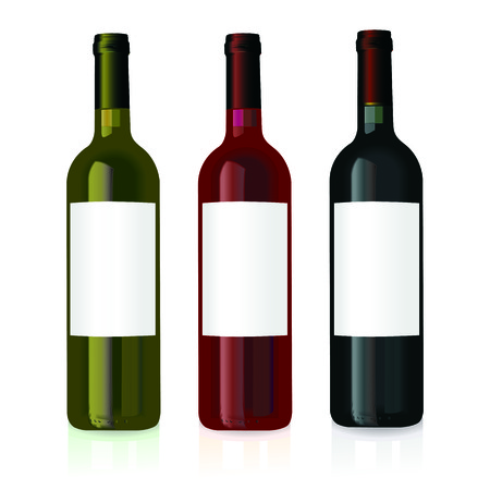 white riesling grape: vector illustration of three wine bottles with blank labels