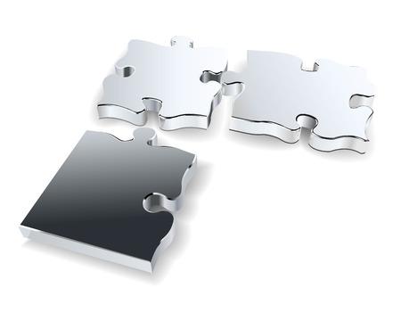 drie chroom puzzels  Stock Illustratie