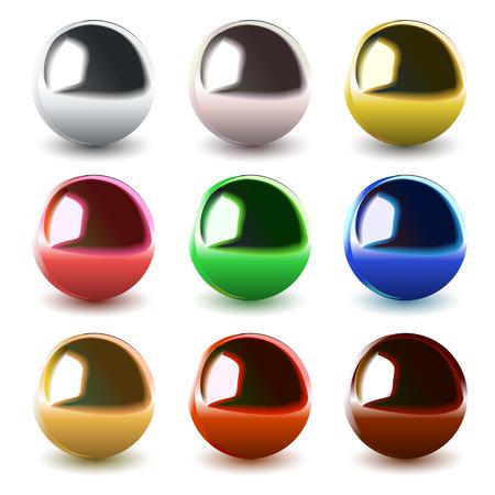 set van vector chroom ballen