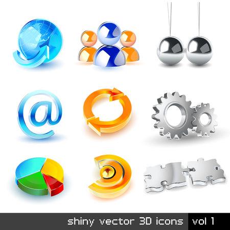 Vector set glimmende od 3D-pictogrammen Stockfoto - 5073564