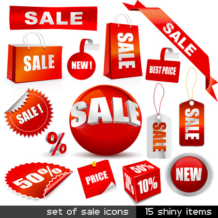 kerst markt: set van vector verkoop iconen