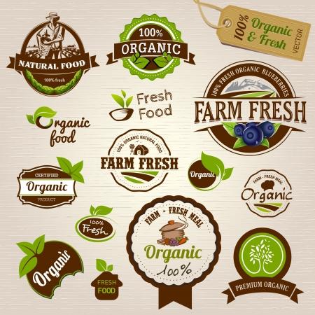 Ensemble d'étiquettes et d'éléments organiques fraîches