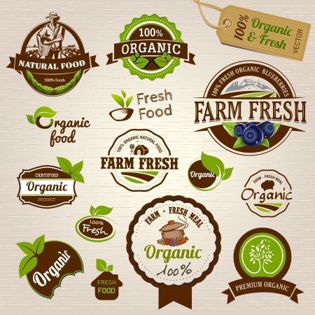 food label: Set of Fresh Organic Labels and Elements Illustration