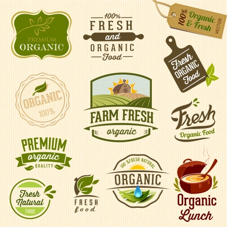 farm market: Set of Fresh Organic Labels and Elements Illustration