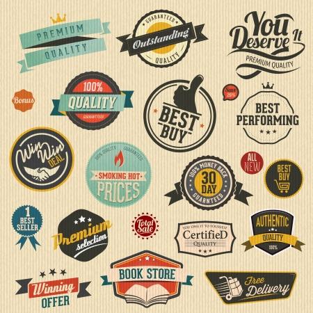 set van vector retro stickers Stock Illustratie