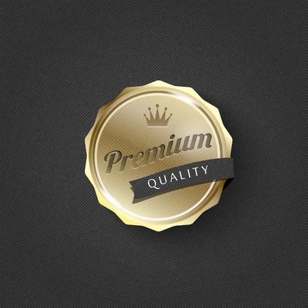 gouden premie badge op gestreepte patroon achtergrond-vector Stock Illustratie