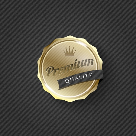golden premium badge on striped pattern background-vector Illustration