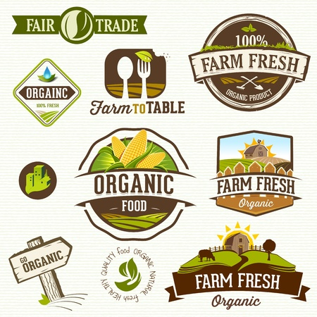 有機食品のラベル  イラスト・ベクター素材