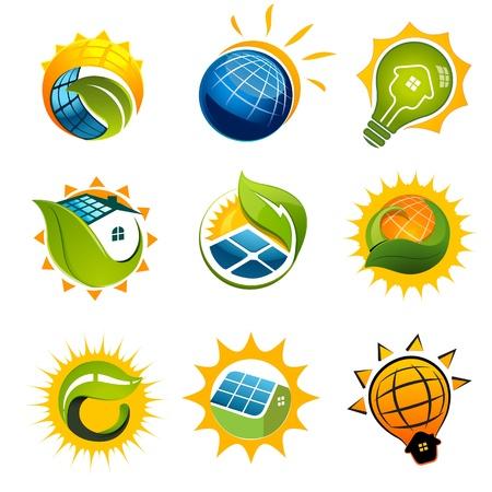 PLACAS SOLARES: Conjunto de elementos del vector de la tecnología solar Vectores
