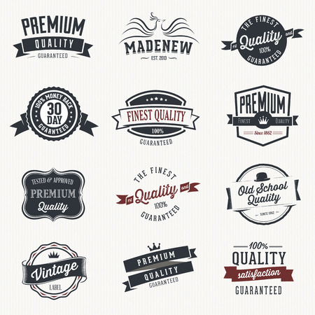 Set of vector stickers and ribbons - retro