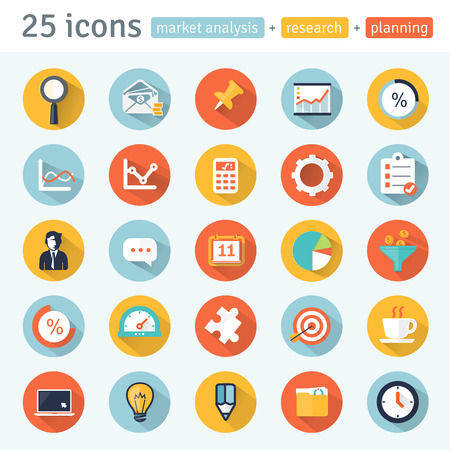 MARKET ANALYSIS  flat app icons for web mobile Set 1 of 8  Ilustrace