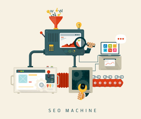 Website SEO machine, proces van optimalisatie Flat stijl ontwerp Stock Illustratie