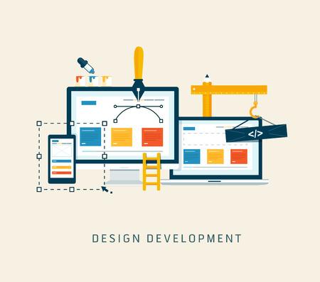 Web サイトまたはアプリケーションのフラット スタイルのベクトル デザインを設計