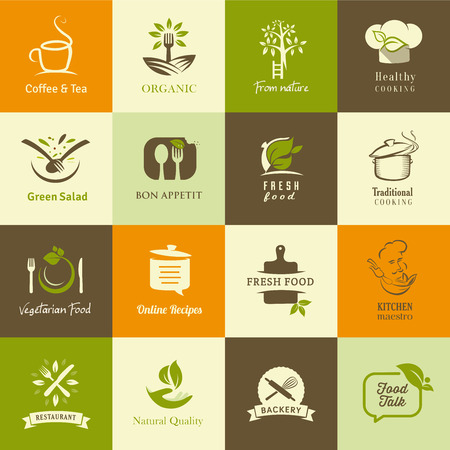 Set of icons for organic and vegetarian food, cooking and restaurants Çizim