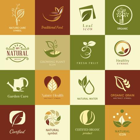 Set van pictogrammen en symbolen voor de gezondheid van de natuur en organische