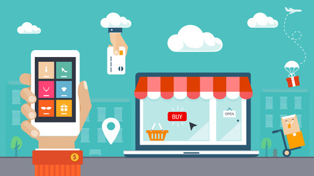 buying online: Flat design vector illustration  E-commerce, shopping   delivery