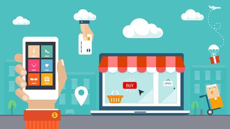 mercadotecnia: Piso ilustración vectorial de diseño de comercio electrónico, entrega de compras Vectores
