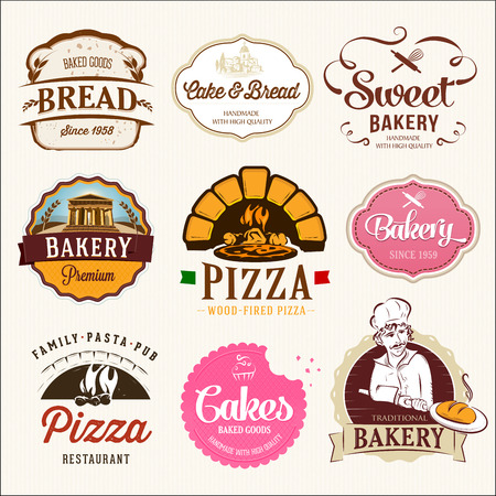 Collection of  BAKERY, CAKES and PIZZA  badges and labels Vector