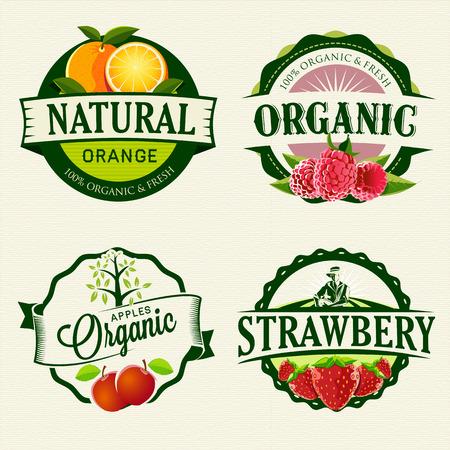 Conjunto de etiquetas de orgánicos frescos Foto de archivo - 26697490