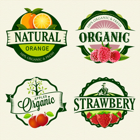 raspberries: Set of Fresh   Organic labels