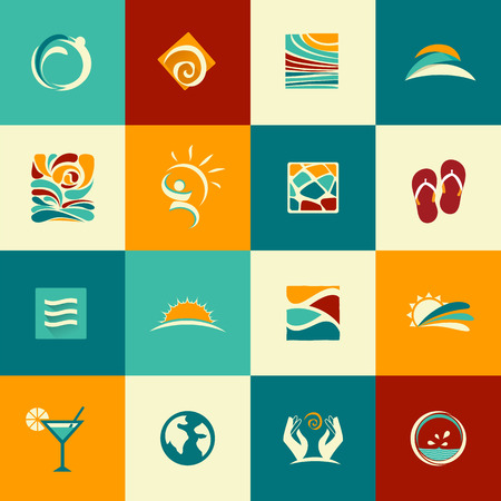 Set of abstract summer icons Vector