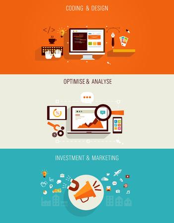web technology: Set di icone piatte per il web design, seo, marketing digitale e investimenti