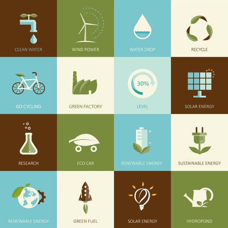 car factory: Set of flat designed ecology icons