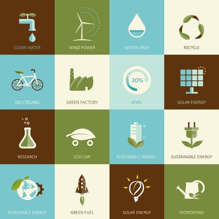 Set van platte ontworpen ecologie iconen Stockfoto - 27562082