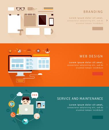 Flat Design Concept Icons and banners Vector